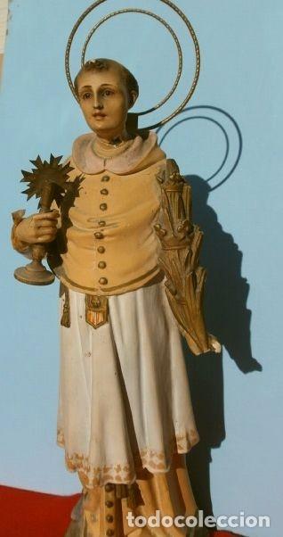 ANTIGUA IMAGEN SAN RAMON NONATO 33 CM ALTO - ESTUCO BASE MADERA - MARCA OLOT (PARA RESTAURAR) (Arte - Arte Religioso - Escultura)