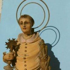 Arte: ANTIGUA IMAGEN SAN RAMON NONATO 33 CM ALTO - ESTUCO BASE MADERA - MARCA OLOT (PARA RESTAURAR). Lote 181503628