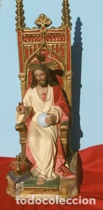 Arte: Antigua IMAGEN SAGRADO CORAZON en Trono 41 CM ALTO - Cristo en Magestad bendiciendo Ojos de cristal - Foto 2 - 181505537
