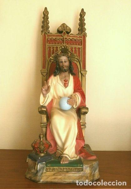 Arte: Antigua IMAGEN SAGRADO CORAZON en Trono 41 CM ALTO - Cristo en Magestad bendiciendo Ojos de cristal - Foto 10 - 181505537