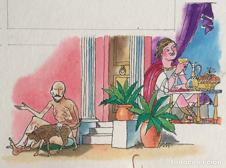 LÁZARO Y EL HOMBRE RICO. PIERRE MONNERAT (1917-2005). FIRMADA Y REPRODUCIDA (Arte - Arte Religioso - Pintura Religiosa - Acuarela)