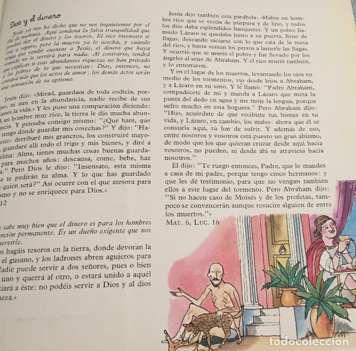 Arte: Lázaro y el hombre rico. Pierre Monnerat (1917-2005). Firmada y reproducida - Foto 3 - 181514210