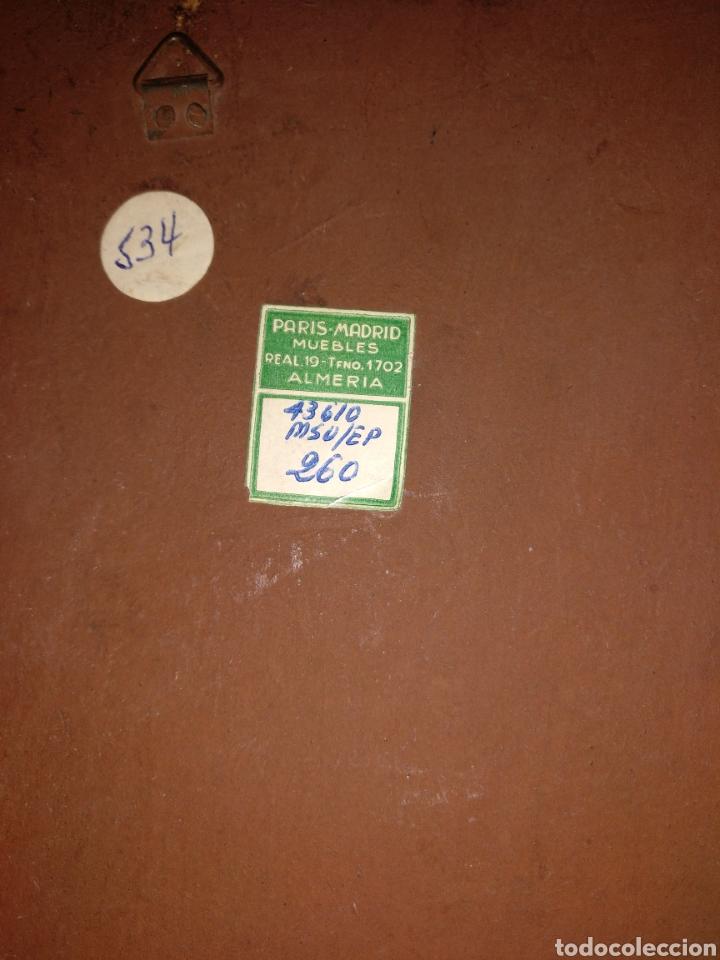 Arte: Retablo buen estado años 50 etiqueta París Madrid Almería 37cm x 27cm - Foto 2 - 181605651