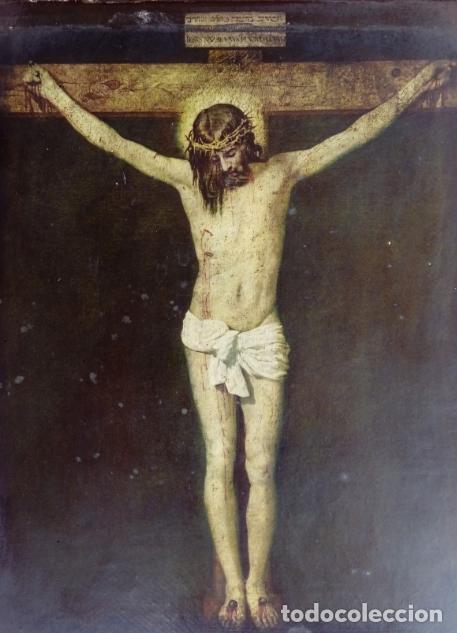 PINTURA RELIGIOSA ANTIGUA, PEGADA A TABLA. DIM.- 22,5X18 CMS. (Arte - Arte Religioso - Pintura Religiosa - Otros)
