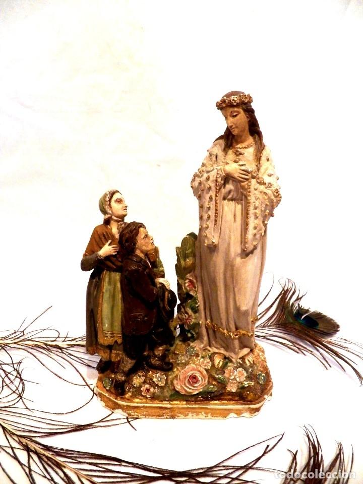 ANTIGUA VIRGEN XIX, VIRGEN SALETTE, VIRGEN 2 PASTORES, VIRGEN ESCAYOLA, VIRGEN FRANCESA, (Arte - Arte Religioso - Escultura)