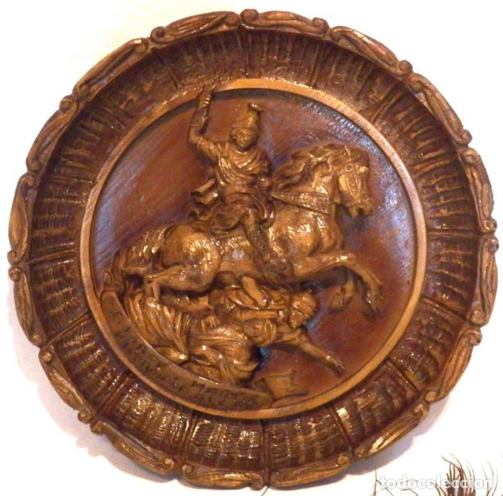 ICONO MADERA TALLADA, ICONO SAN JORGE, ICONO RELIEVE, ICONO RELIGIOSO, ICONO ESPAÑOL (Arte - Arte Religioso - Iconos)