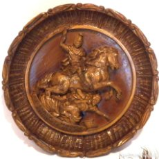 Arte: ICONO MADERA TALLADA, ICONO SAN JORGE, ICONO RELIEVE, ICONO RELIGIOSO, ICONO ESPAÑOL. Lote 181931776