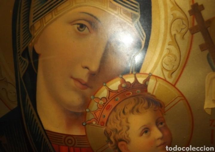 Arte: Extraordinaria Antigua Virgen del Perpetuo Socorro posiblemente de oratorio religioso. Gran tamaño - Foto 3 - 181977037