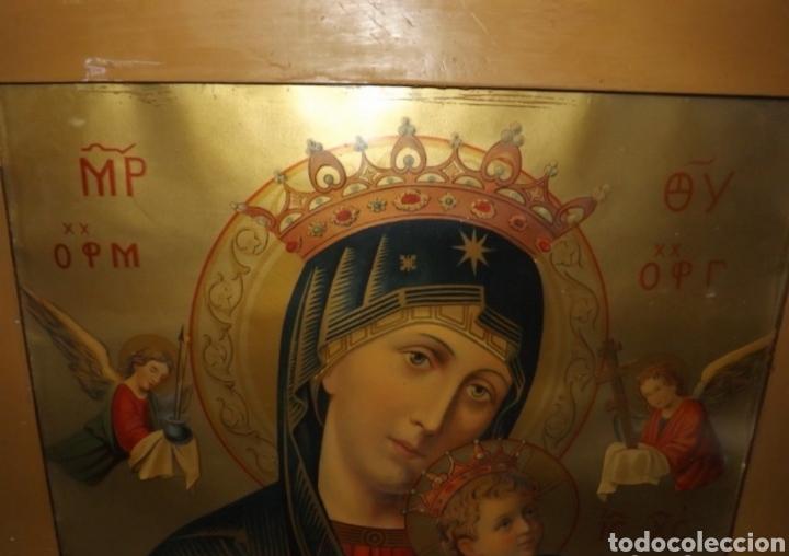 Arte: Extraordinaria Antigua Virgen del Perpetuo Socorro posiblemente de oratorio religioso. Gran tamaño - Foto 4 - 181977037