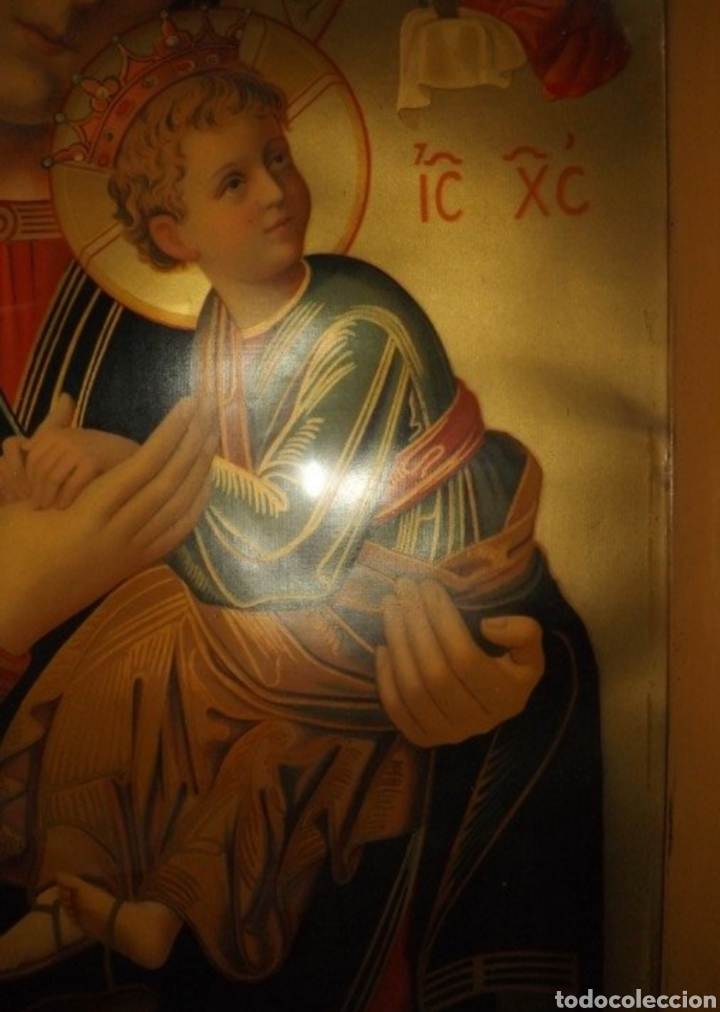 Arte: Extraordinaria Antigua Virgen del Perpetuo Socorro posiblemente de oratorio religioso. Gran tamaño - Foto 6 - 181977037