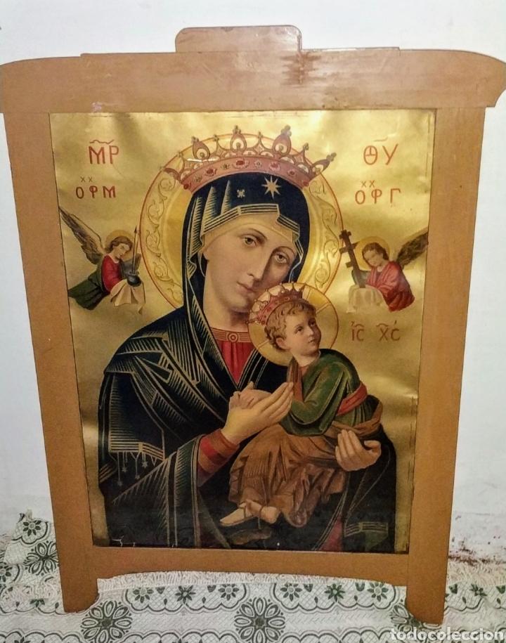 Arte: Extraordinaria Antigua Virgen del Perpetuo Socorro posiblemente de oratorio religioso. Gran tamaño - Foto 11 - 181977037