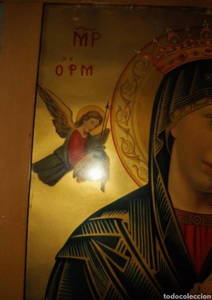 Arte: Extraordinaria Antigua Virgen del Perpetuo Socorro posiblemente de oratorio religioso. Gran tamaño - Foto 14 - 181977037