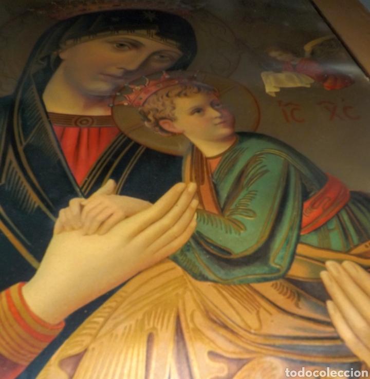 Arte: Extraordinaria Antigua Virgen del Perpetuo Socorro posiblemente de oratorio religioso. Gran tamaño - Foto 15 - 181977037