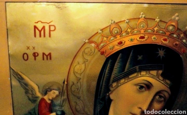 Arte: Extraordinaria Antigua Virgen del Perpetuo Socorro posiblemente de oratorio religioso. Gran tamaño - Foto 17 - 181977037
