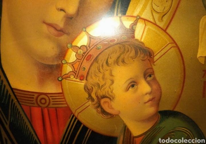 Arte: Extraordinaria Antigua Virgen del Perpetuo Socorro posiblemente de oratorio religioso. Gran tamaño - Foto 22 - 181977037