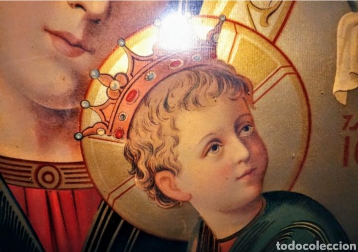 Arte: Extraordinaria Antigua Virgen del Perpetuo Socorro posiblemente de oratorio religioso. Gran tamaño - Foto 25 - 181977037