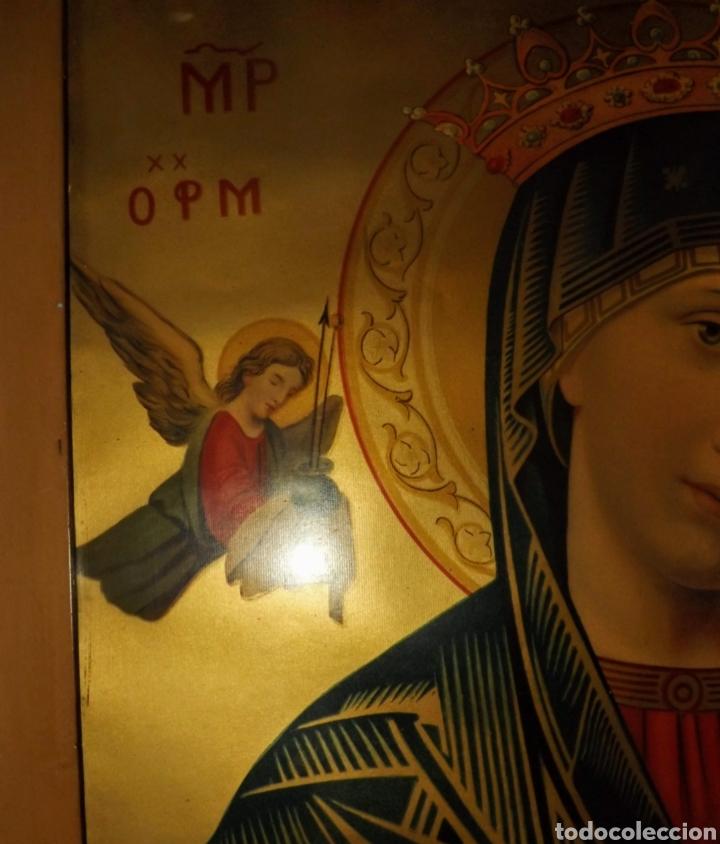 Arte: Extraordinaria Antigua Virgen del Perpetuo Socorro posiblemente de oratorio religioso. Gran tamaño - Foto 34 - 181977037
