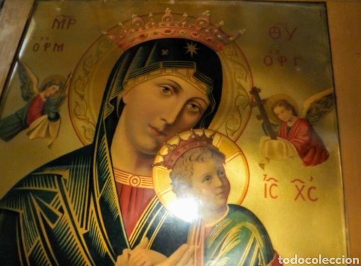 Arte: Extraordinaria Antigua Virgen del Perpetuo Socorro posiblemente de oratorio religioso. Gran tamaño - Foto 36 - 181977037