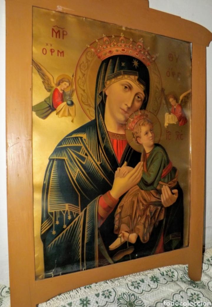 Arte: Extraordinaria Antigua Virgen del Perpetuo Socorro posiblemente de oratorio religioso. Gran tamaño - Foto 38 - 181977037