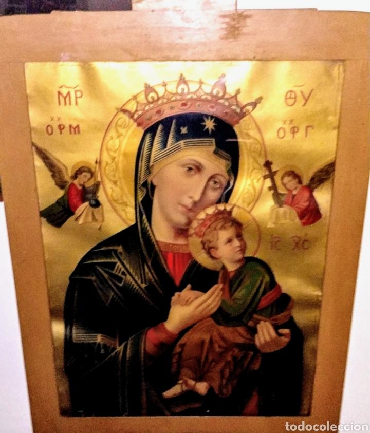 Arte: Extraordinaria Antigua Virgen del Perpetuo Socorro posiblemente de oratorio religioso. Gran tamaño - Foto 39 - 181977037