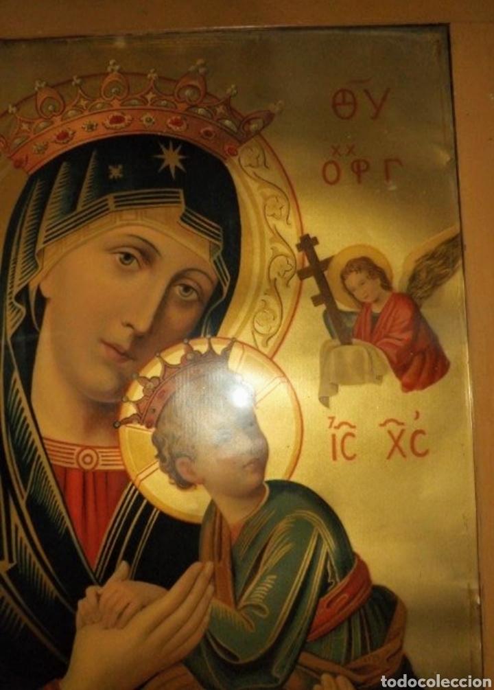 Arte: Extraordinaria Antigua Virgen del Perpetuo Socorro posiblemente de oratorio religioso. Gran tamaño - Foto 40 - 181977037