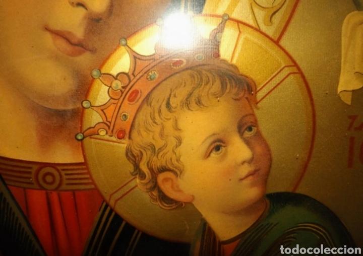 Arte: Extraordinaria Antigua Virgen del Perpetuo Socorro posiblemente de oratorio religioso. Gran tamaño - Foto 41 - 181977037