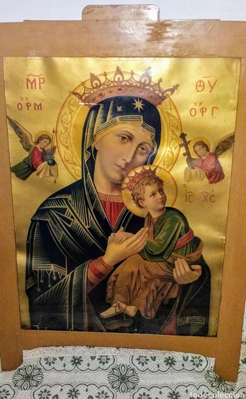 Arte: Extraordinaria Antigua Virgen del Perpetuo Socorro posiblemente de oratorio religioso. Gran tamaño - Foto 49 - 181977037