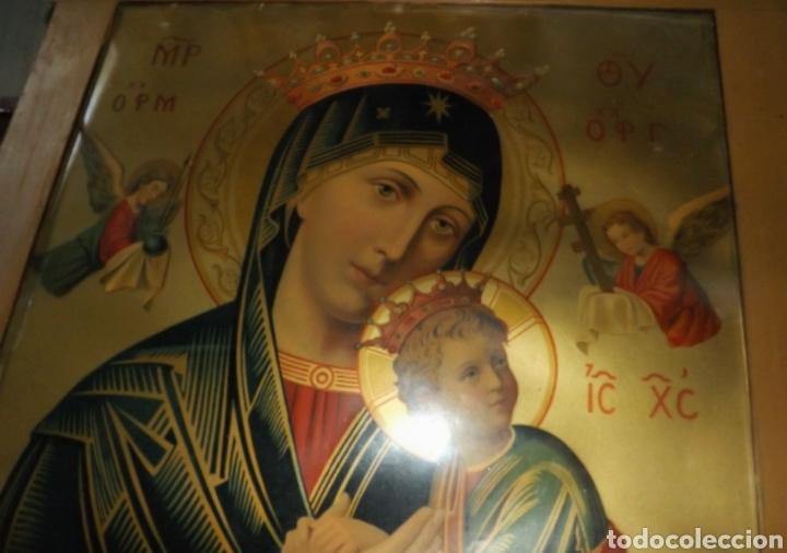 Arte: Extraordinaria Antigua Virgen del Perpetuo Socorro posiblemente de oratorio religioso. Gran tamaño - Foto 48 - 181977037
