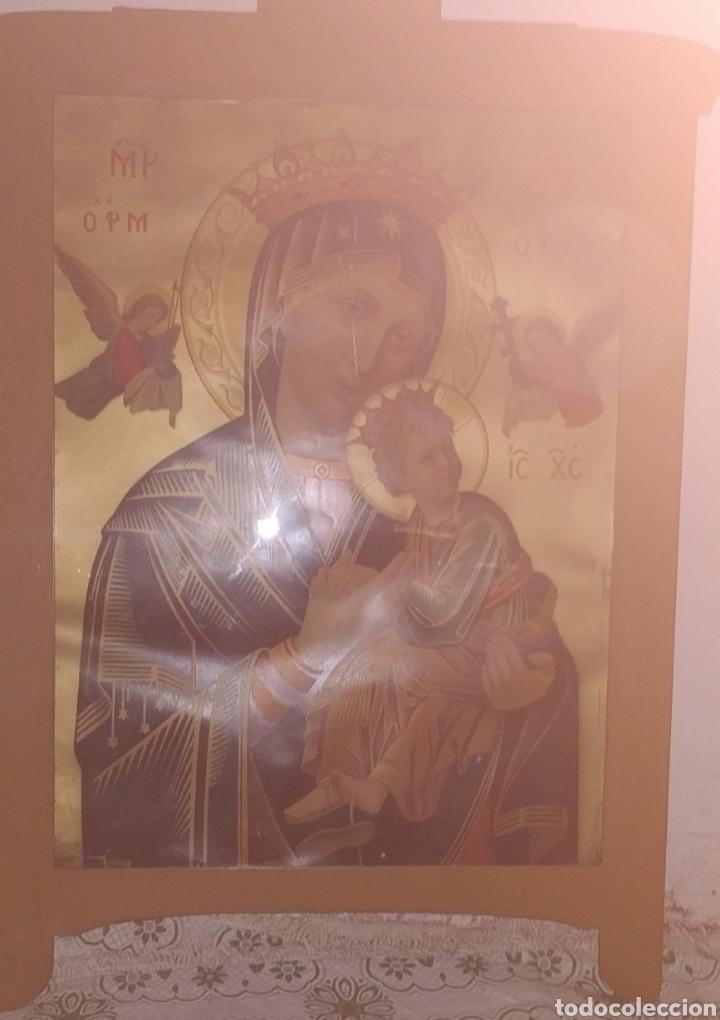 Arte: Extraordinaria Antigua Virgen del Perpetuo Socorro posiblemente de oratorio religioso. Gran tamaño - Foto 20 - 181977037