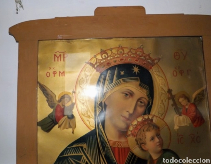 Arte: Extraordinaria Antigua Virgen del Perpetuo Socorro posiblemente de oratorio religioso. Gran tamaño - Foto 46 - 181977037