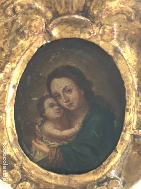 ANTIGUO ÓLEO RELIGIOSO SOBRE COBRE, VIRGEN CON EL NIÑO JESÚS. S. XVIII (Arte - Arte Religioso - Pintura Religiosa - Oleo)