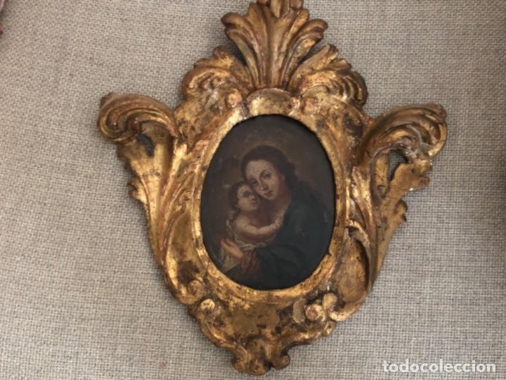 Arte: Antiguo óleo religioso sobre cobre, Virgen con El Niño Jesús. S. XVIII - Foto 2 - 181980085