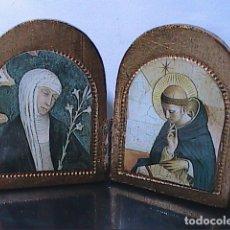 Arte: ICONO DÍPTICO DE SANTO DOMINGO DE GUZMÁN Y SANTA CLARA.. Lote 182059763