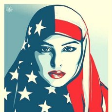 Arte: OBEY - SHEPARD FAIREY - WE THE PEOPLE / ARE GREATER THAN FEAR - ORIGINAL. Lote 182143001