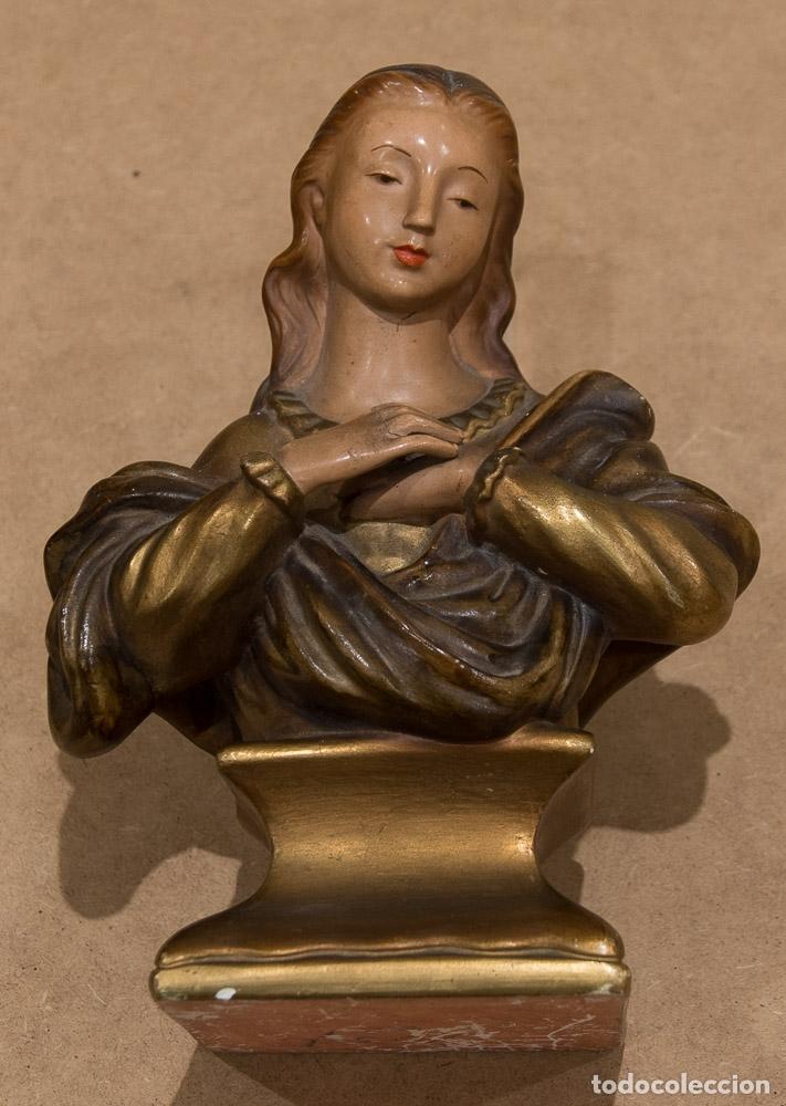 BUSTO DE LA INMACULADA EN ESCAYOLA POLICROMADA. AÑOS 40 (Arte - Arte Religioso - Escultura)