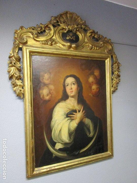 Arte: Inmaculada Concepción - Óleo sobre Tela - Circulo Bartolomé Esteban Murillo - Marco Barroco Original - Foto 2 - 182220098