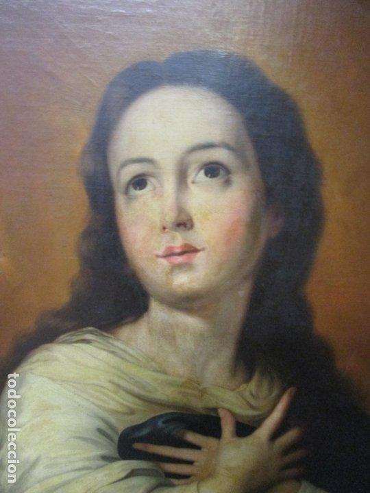 Arte: Inmaculada Concepción - Óleo sobre Tela - Circulo Bartolomé Esteban Murillo - Marco Barroco Original - Foto 6 - 182220098