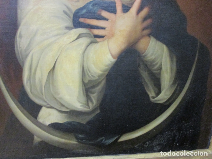 Arte: Inmaculada Concepción - Óleo sobre Tela - Circulo Bartolomé Esteban Murillo - Marco Barroco Original - Foto 13 - 182220098