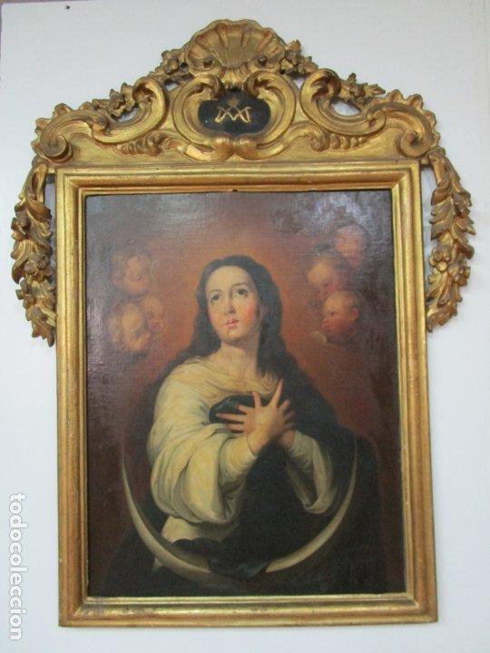 Arte: Inmaculada Concepción - Óleo sobre Tela - Circulo Bartolomé Esteban Murillo - Marco Barroco Original - Foto 29 - 182220098