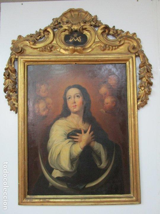 Arte: Inmaculada Concepción - Óleo sobre Tela - Circulo Bartolomé Esteban Murillo - Marco Barroco Original - Foto 32 - 182220098