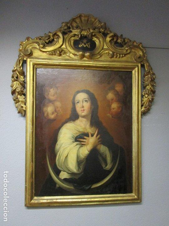INMACULADA CONCEPCIÓN - ÓLEO SOBRE TELA - CIRCULO BARTOLOMÉ ESTEBAN MURILLO - MARCO BARROCO ORIGINAL (Arte - Arte Religioso - Pintura Religiosa - Oleo)