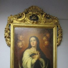 Arte: INMACULADA CONCEPCIÓN - ÓLEO SOBRE TELA - CIRCULO BARTOLOMÉ ESTEBAN MURILLO - MARCO BARROCO ORIGINAL. Lote 182220098