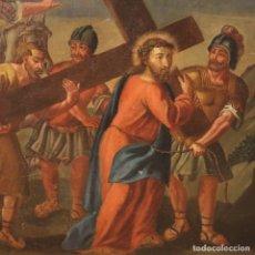 Arte: PINTURA RELIGIOSA ITALIANA ANTIGUA VÍA CRUCIS DEL SIGLO XVIII. Lote 182260531