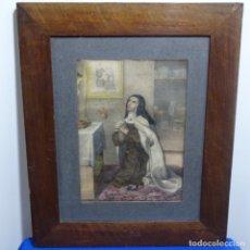Arte: GRABADO A COLOR DE SANTA TERESA DE JESÚS.ENMARCADO XIX.. Lote 182328155