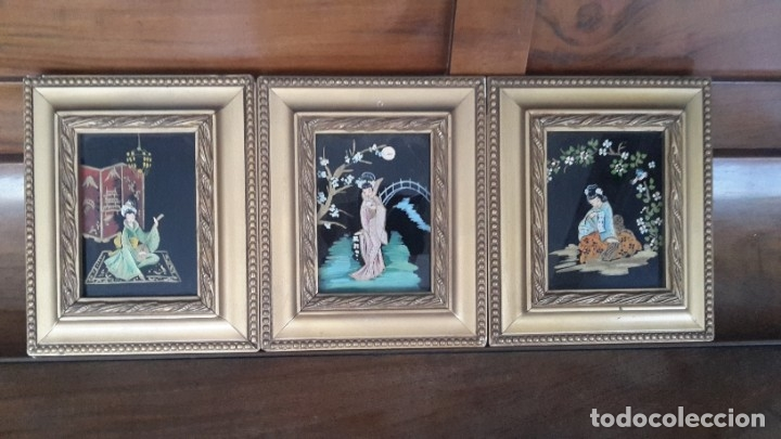 CUADROS JAPONESES PINTADOS SOBRE CRISTAL (Arte - Arte Religioso - Pintura Religiosa - Otros)