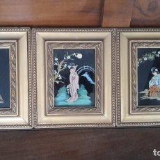 Arte: CUADROS JAPONESES PINTADOS SOBRE CRISTAL. Lote 182372877