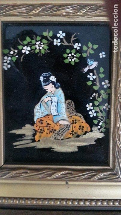 Arte: Cuadros japoneses pintados sobre cristal - Foto 2 - 182372877