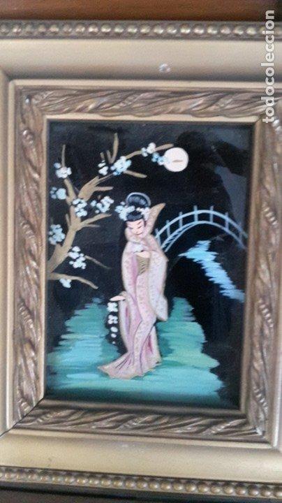 Arte: Cuadros japoneses pintados sobre cristal - Foto 3 - 182372877