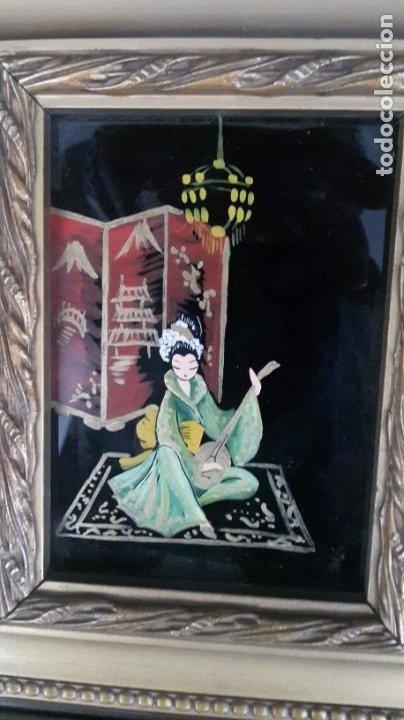 Arte: Cuadros japoneses pintados sobre cristal - Foto 4 - 182372877