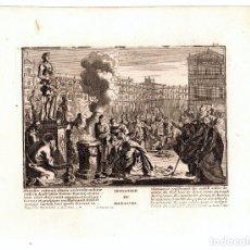 Arte: GRABADO RELIGIOSO IDOLATRIA DE MANASES. SIGLO XVIII. Lote 182381996